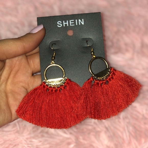 da2dc122d1 SHEIN Jewelry | Red Tassel Drop Earrings | Poshmark